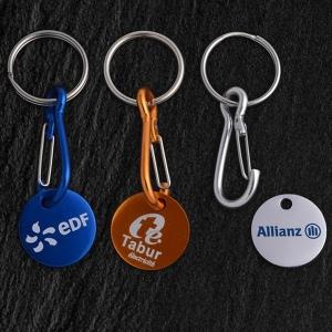 Porte-clés jeton aluminium, quadri 1 face