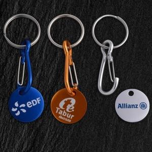Porte-clés jeton aluminium, sérigraphie 1 couleur 1 face