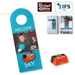 Accroche-porte/-rétroviseur publicitaire avec Pocket Coffee